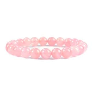 Magnifique Bracelet en Quartz Rose avec perles 8 mm brillantes