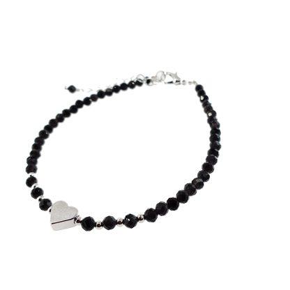 Bracelet en Obsidienne 3mm avec petit coeur