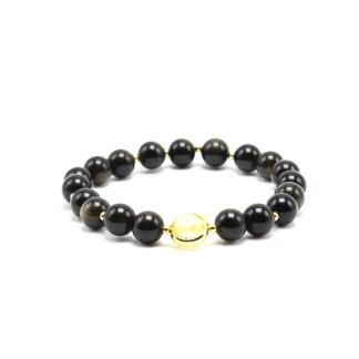 Magnifique Bracelet en Obsidienne . White Alpina vous propose ce bijou avec perles brillantes en 8 mm avec perles argentées
