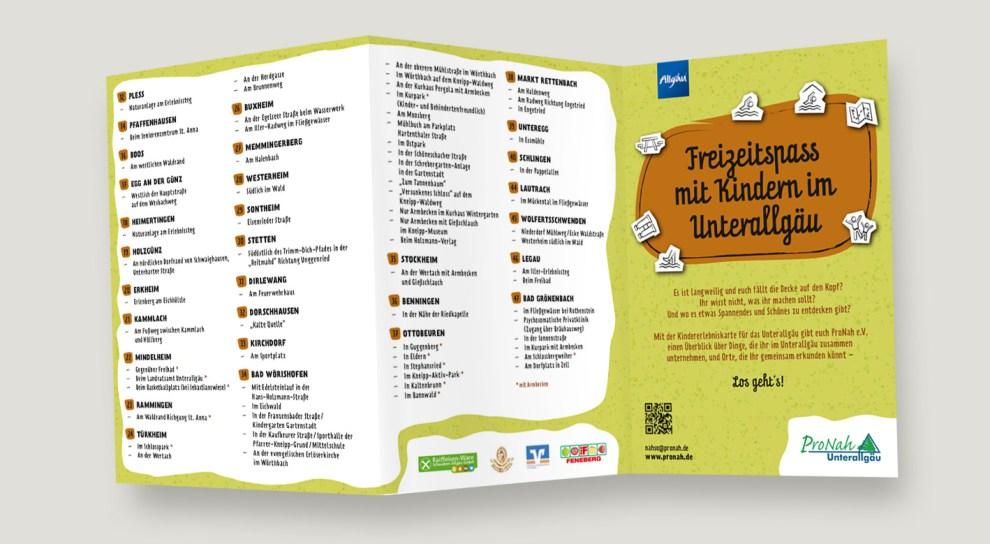 """Titel des Faltflyers """"Freizeitspaß mit Kindern im Unterallgäu"""""""