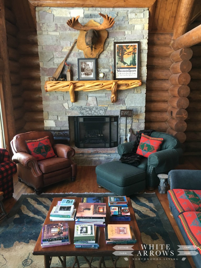 Rock Fireplace, Wooden Moosehead, Log Home, Great Room