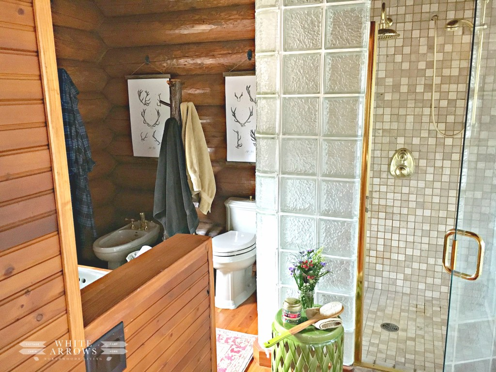Master Bathroom, Bathroom, Tiled Shower, Shower Stool, Antler Print, Painted Fox Home, Log Home, Log Cabin