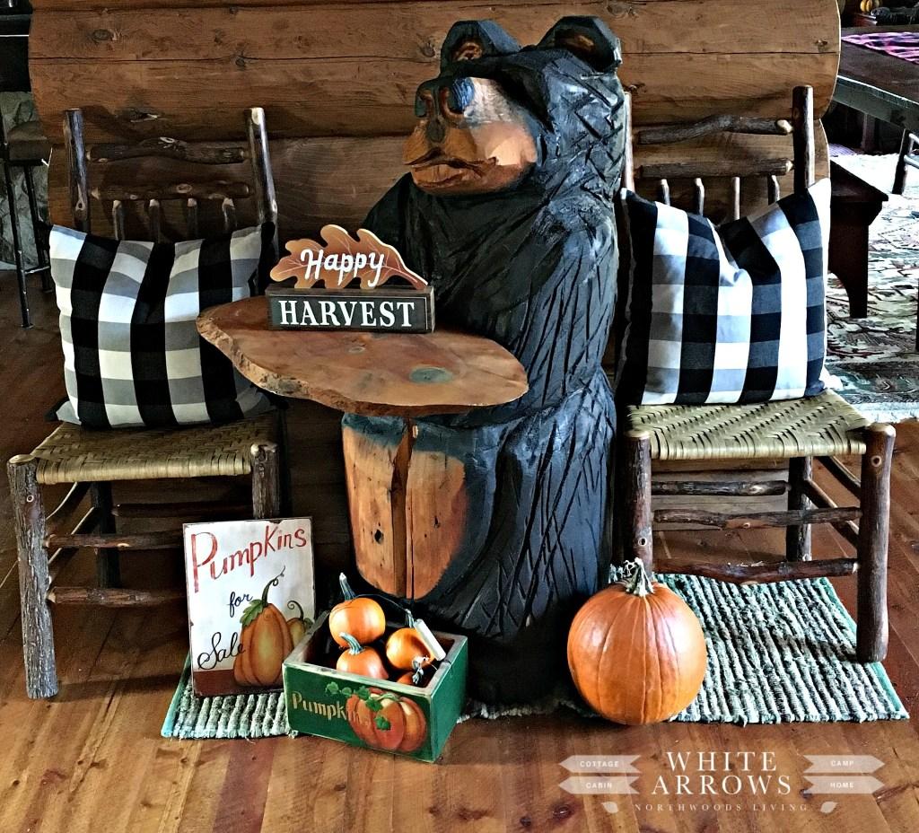 bear carving, halloween, pumpkins, fall decor, buffalo plaid