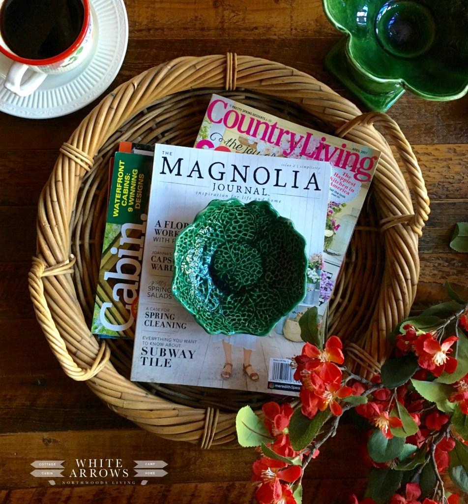 Spring Decor, Green Bowl, Cabin Decor, Cabin Style, Coffee Table, Woven Basket Tray,