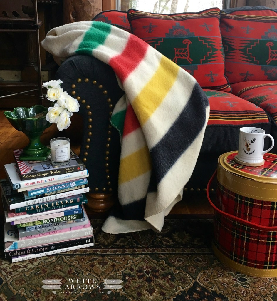 Point Blanket, Pendleton Blanket, Coffee Table Books, Scotch Cooler, Cabin Decor, Rustic Decor, Cabin Style, Log Cabin, Rustic Couch