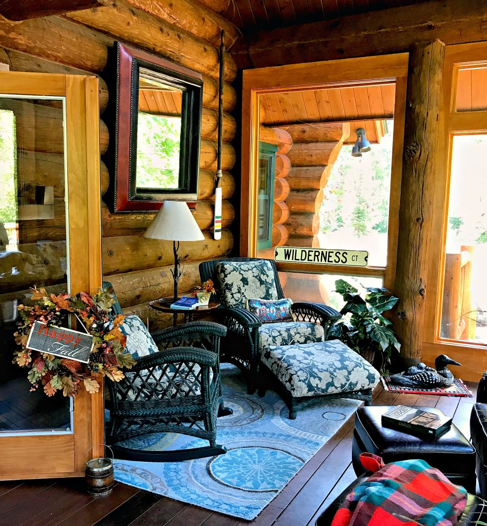 Sunroom, Log Cabin, Cabin, Log Home, Wicker Furniture