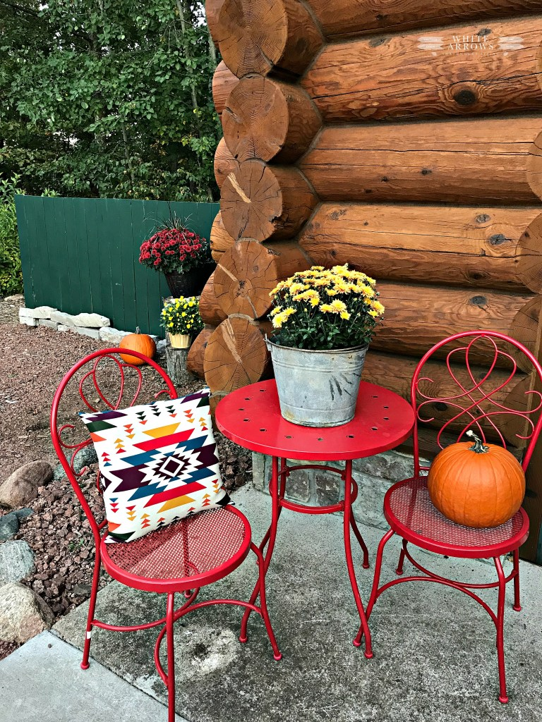 Autumn Decor, Fall Decor, Log Cabin, Cabin, Porch, Bistro Table, Mums, Rustic