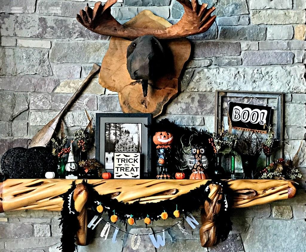 Halloween Mantle Decor, carved moose head, halloween decor, log cabin, cabin