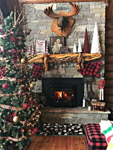 Christmas Mantel- Buffalo Plaid Stockings and Rustic Decor