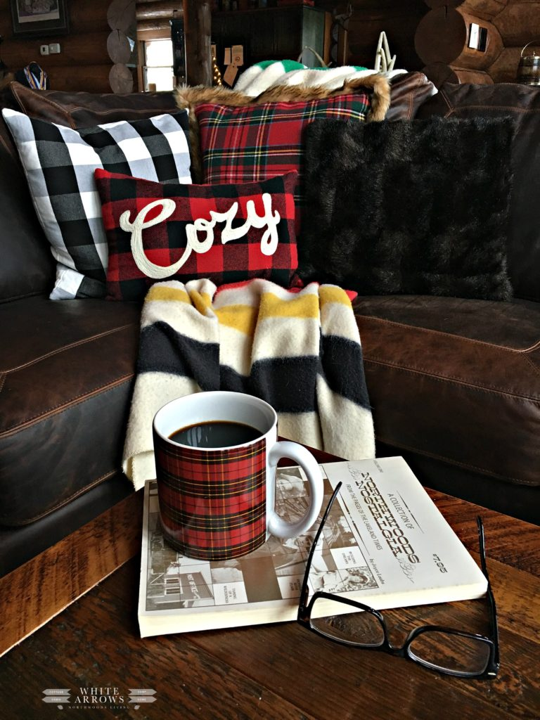 winter decor, cabin, cozy, hygee, plaid decor, pendelton, cabin living