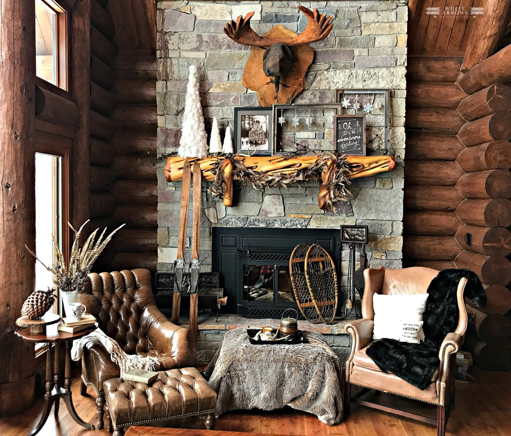 winter neutral decor, winter decor, neutral decor, cabin, cabin decor, cabin style, log cabin