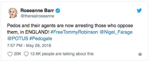 Tweet from Roseanne Barr regarding Tommy Robinson @therealroseanne