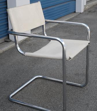 white-chrome-sling-chair