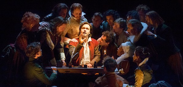 Luke Humphrey (centre) as Will Shakespeare with members of the company in Shakespeare in Love. Photography by David Hou.
