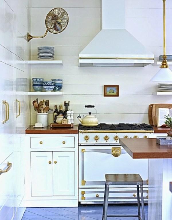 white+Kitchen+la+cornue+stove+gold+brass+accents+cococozy+lacquered+life