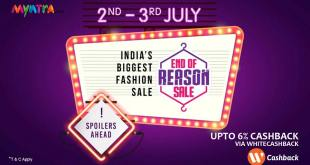 myntra end of reason sale with cashback