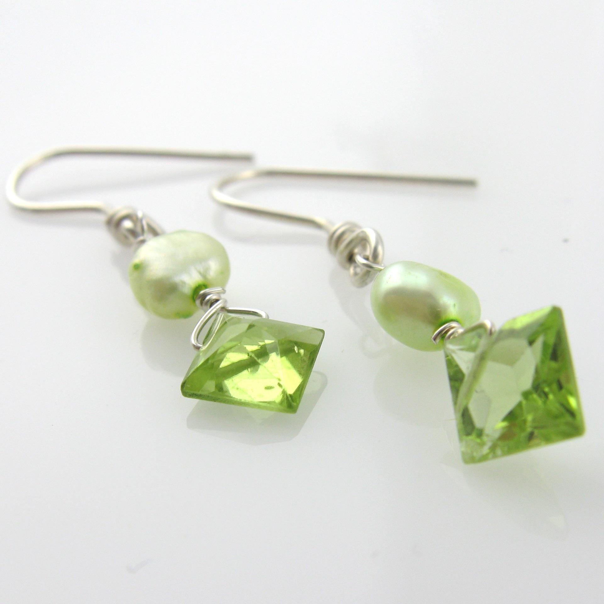 Green Pearl Earrings Green Pearl Hoop Earrings Shafaq