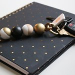 Wood Bead & Leather Key Chain
