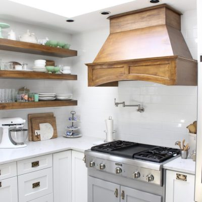 White- Cottage Kitchen- Renovation- Reveal- kitchen design- kitchen decorating ideas- kitchen decor ideas- room design- home decor- design- open shelving- custom island- white cabinets- professional appliances- DIY- Do it Yourself- wood range hood- cottage design- farmhouse kitchen- gray cabinets- Thermador professional range with griddle- subway tile backsplash