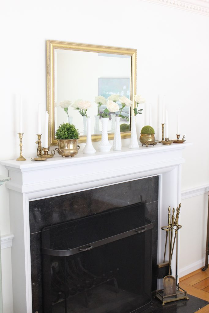 Summer mantel- mantle decor- home decor- antique brass- candlesticks- milk glass- dining room decorating- dining room decor- DIY- farmhouse dining room- french country dining room- fireplace decor- summer decorating- decoration ideas- room design- thrift store shopping- antiques