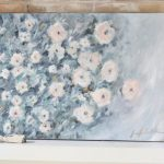 Artwork- flowers- painting- muted colors- wall gallery- home decor ideas- painting- Jennifer Collander- art- wall decor ideas- summer- fresh- room decor- pastel color palette- canvas painting of flowers- mantel decor