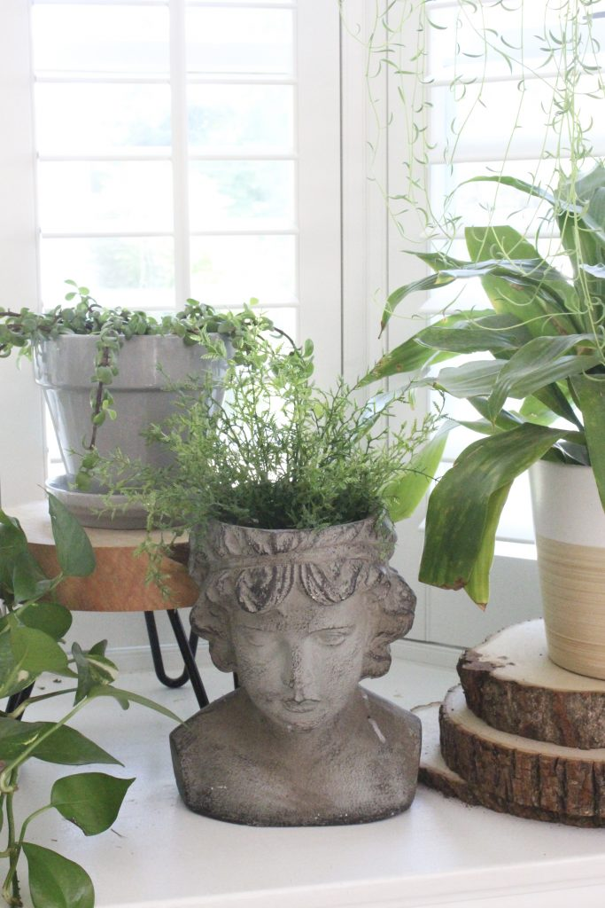 plant stands- chairs- stools- using stools as plant stands- decorative plant stands