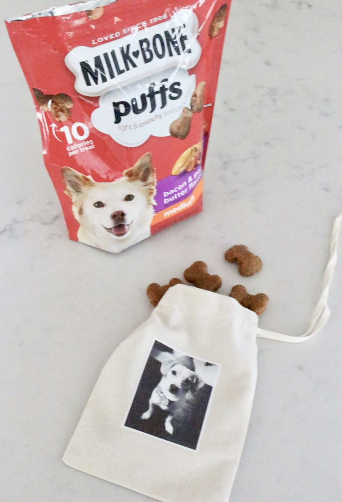 Dog treats at Meijer- pets- treats- pet treats- dogs- JM Smuckers- DIY- holiday gift for pets- treat bags- printable fabric paper- pet photo gift