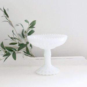 white- milk glass- pedestal dish- vintage- home decor- centerpiece- farmhouse- cottage- decor
