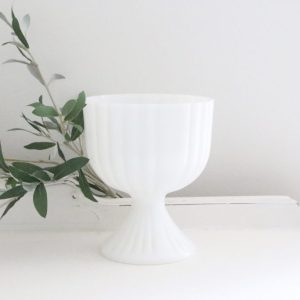 White- milk glass- pedestal- dish- home decor- storage- vintage