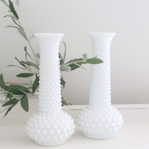 hobnail- white- milk glass- vases- plants- flowers- home decor- weddings- table settings- vintage