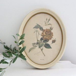 flower print- oval- framed art- vintage- art- farmhouse- cottage- home decor- wall hanging