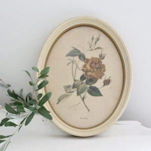 flower print- oval- framed art- vintage- art- farmhouse- cottage- home decor- wall hanging