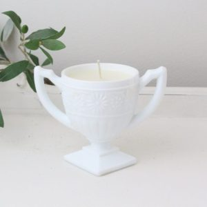 handmade- candle- milk glass- trophy cup- home decor