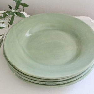 green- dinner plates- table setting- tableware- dishes- vintage