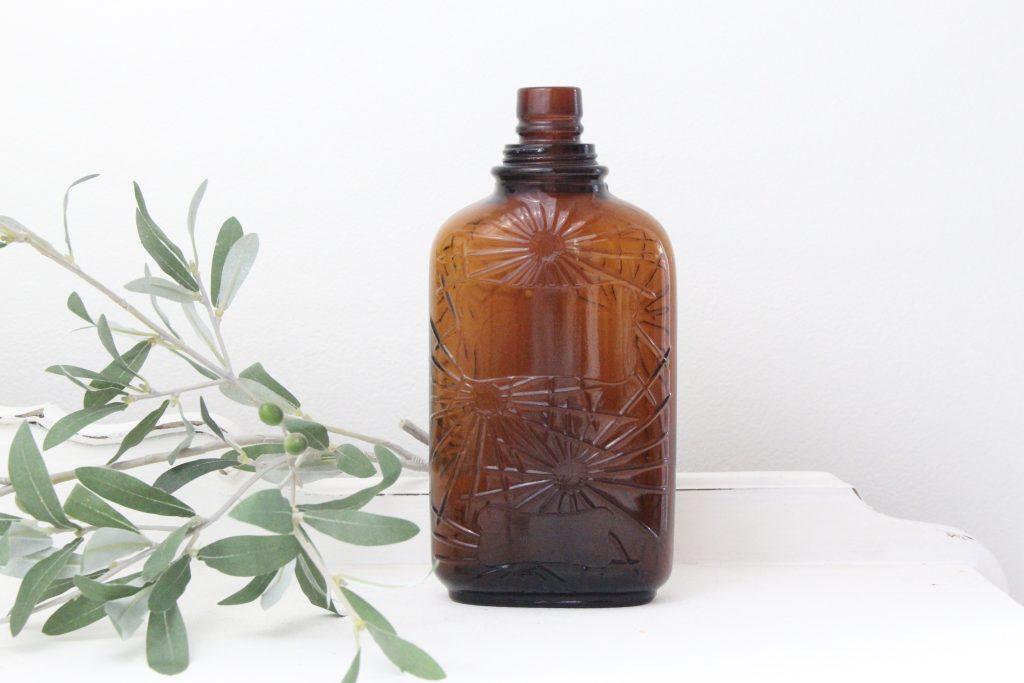 amber bottle- vintage- home decor- farmhouse- centerpiece- vignette
