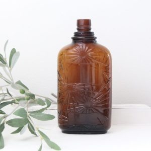 amber bottle- vintage- home decor- farmhouse- centerpiece- vignette