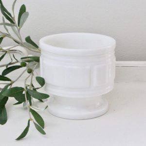 white milk glass- vintage- storage- decorative- plants- home decor- kitchen- centerpiece