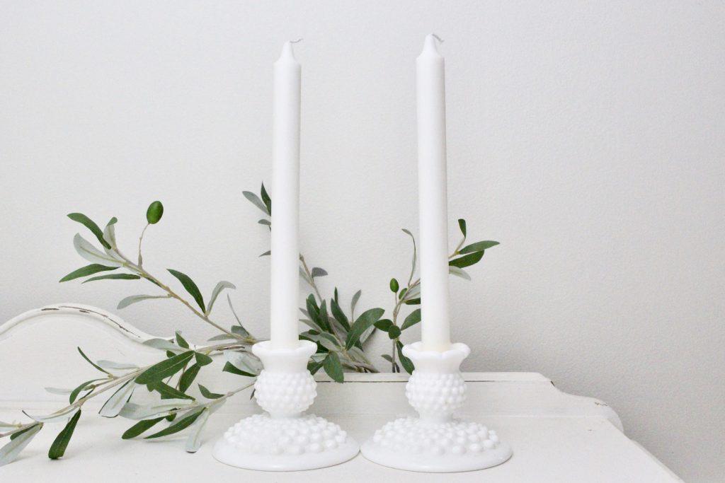 milk glass- hobnail- candlesticks- vintage- home decor