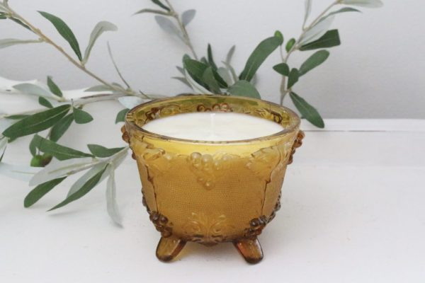 handmade- amber glass- candle- home decor- vintage