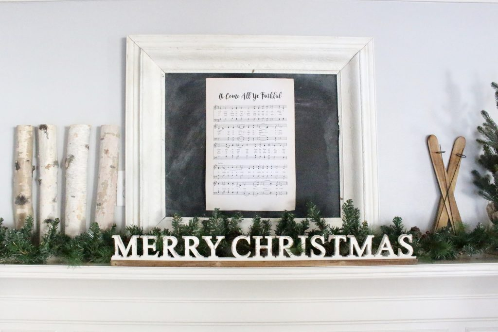 Merry Christmas- mantel- rustic- animal ornaments- farmhouse- coper bucket- birch logs