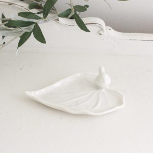 ceramic- leaf plate- bird- heart- home decor