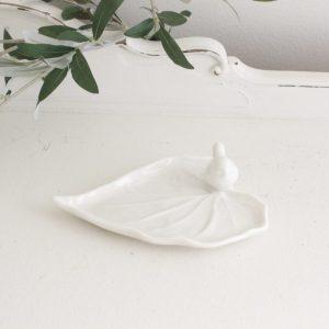ceramic- leaf plate- bird- heart- home decor