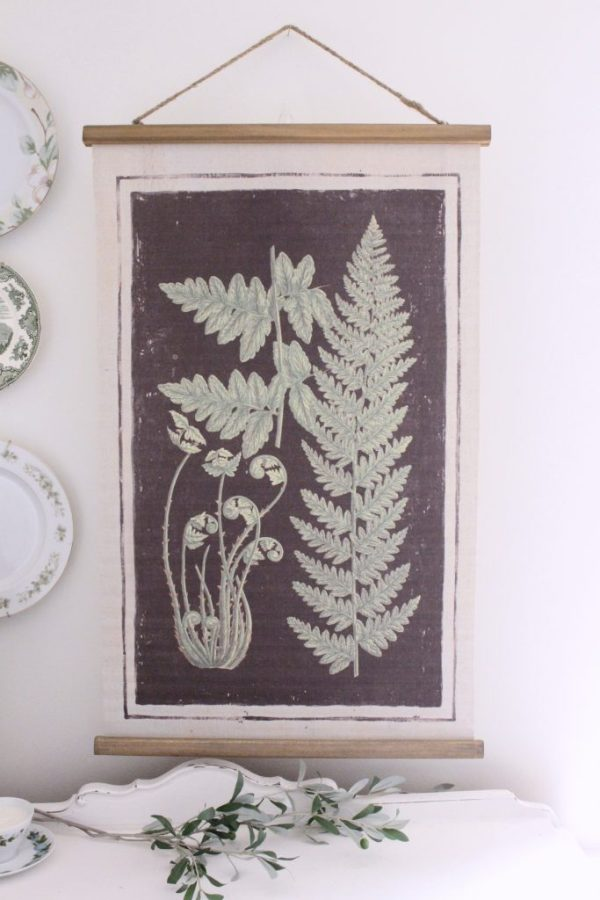 home decor- hanging scroll- ferns- wall hanging
