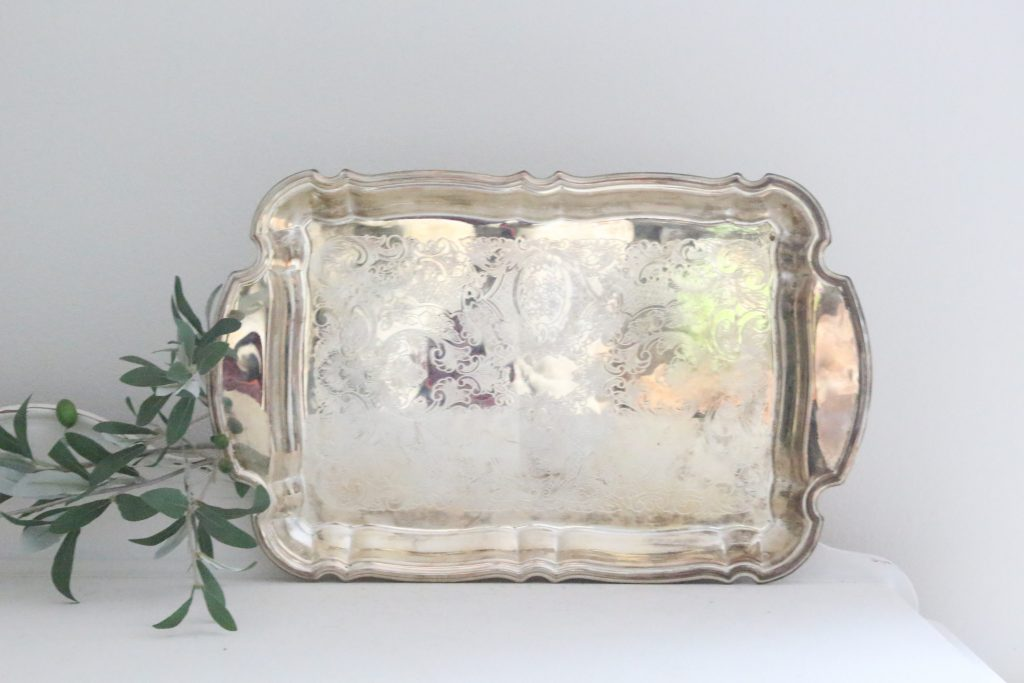 silver- serving tray- etched tray- home decor- kitchen- vintage