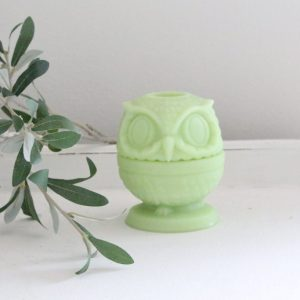 owl- tea light- milk glass- Fenton- fairy light- home decor- vintage