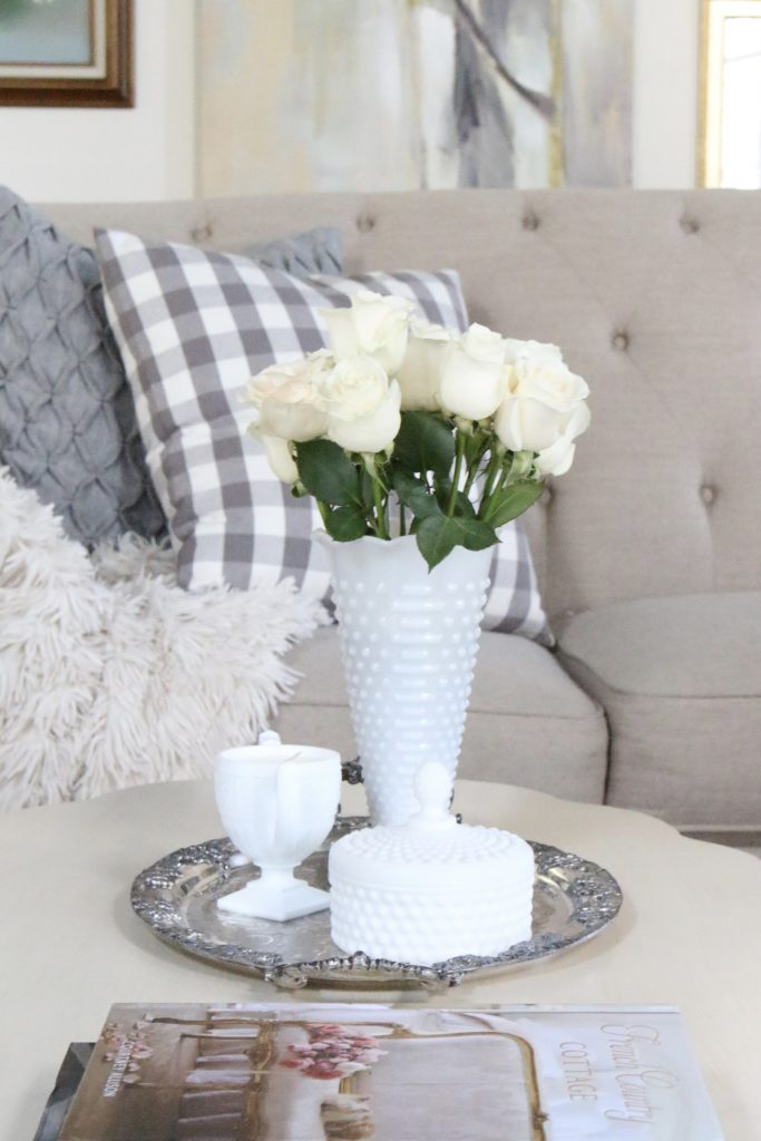 White Milk Glass Hobnail Vase