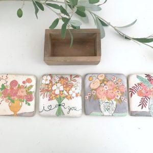 kitchen- coasters- tiles, flower artwork- home decor