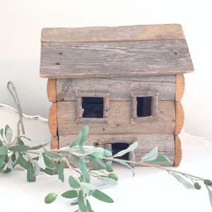 wood log cabin- home decor- vintage log cabin decor