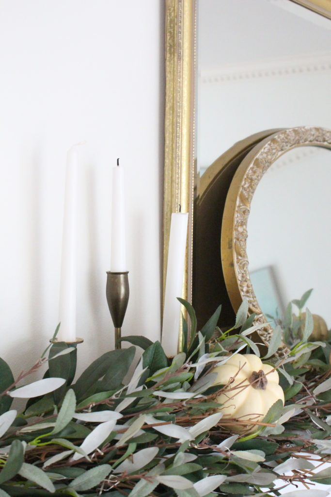 Classic Fall in our Dining Room- vintage brass candlesticks in decor