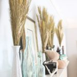 Transitional Fall Mantel- how to decorate the easy way for fall- mantel decor- mantles- decorating a fall mantel- autumn decor- decorating with wheat- pumpkins- milk glass vases- vintage finds- decorating with thrift store finds